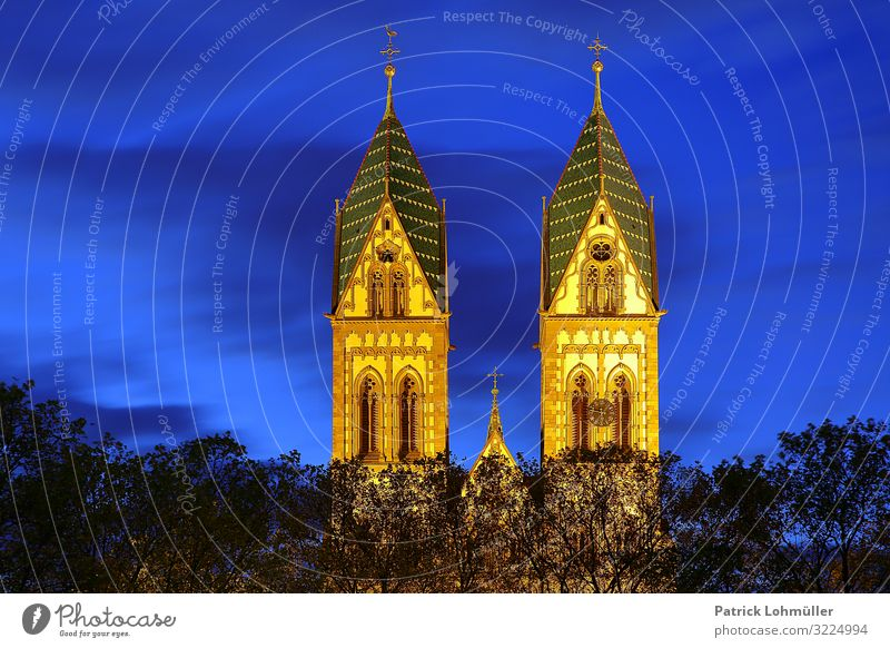 twin towers Sightseeing City trip Environment Sky Tree Freiburg im Breisgau Germany Europe Small Town Downtown Deserted Church Manmade structures Architecture