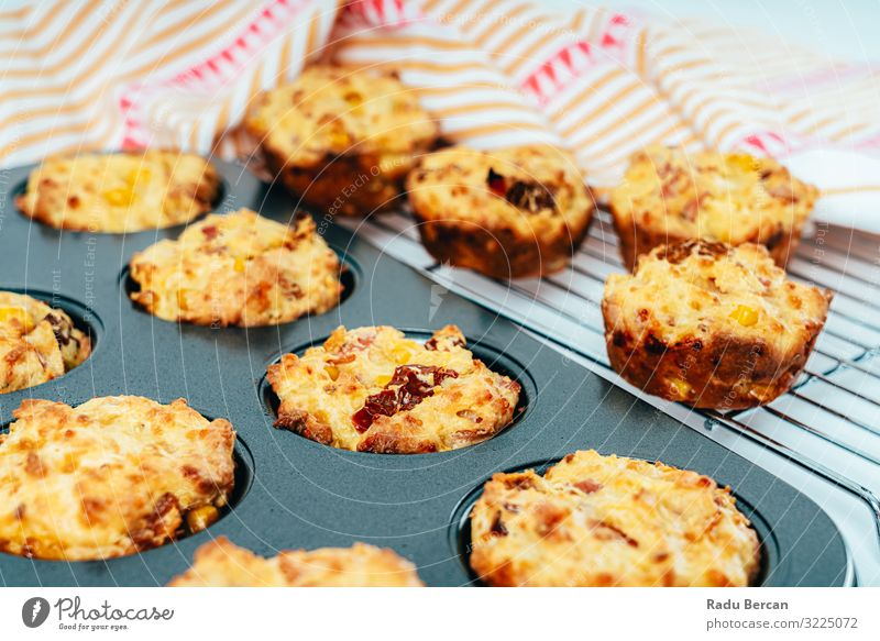Ham, Sweetcorn and Tomato Muffins sweet corn Snack Breakfast Home-made Vegetable Lunch Healthy Eating Diet Dish Background picture Brunch recipe Bacon Fresh