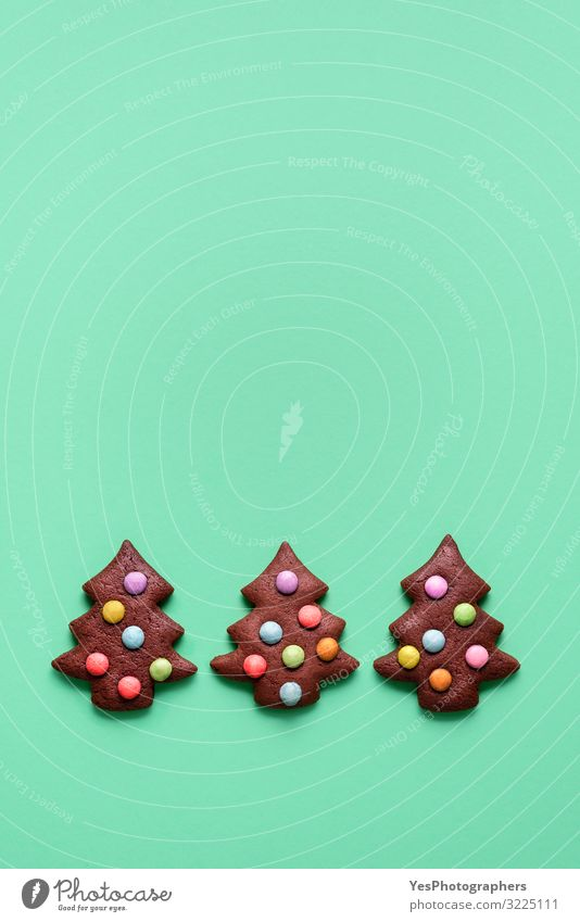 Three cute Christmas tree shaped cookies. Gingerbread cookies Christmas & Advent Winter Food Feasts & Celebrations Copy Space Decoration Cute Candy Cake