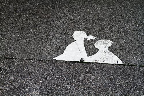 Lost l Lower body Transport Traffic infrastructure Road traffic Pedestrian Black White Asphalt Neutral Background
