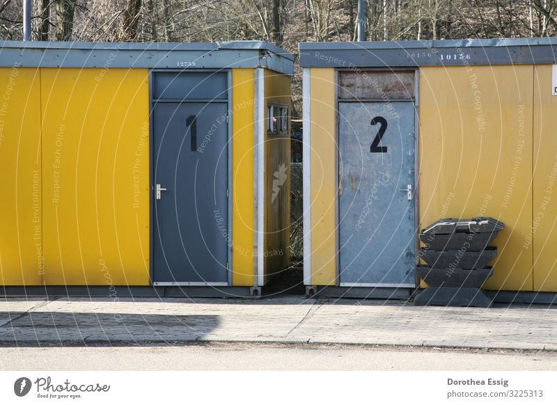 Left? Right? construction container Door Yellow Gray Construction site temporary solution Colour photo Exterior shot Deserted Day Central perspective