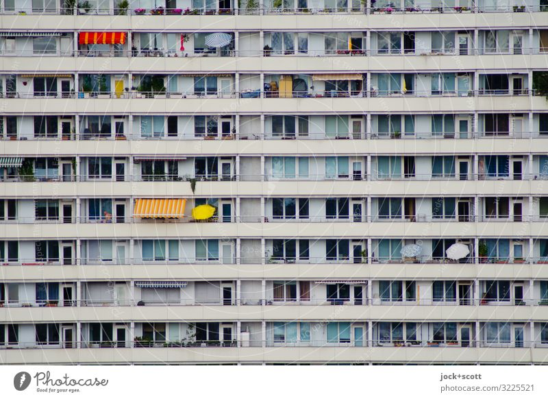 always the same plate Downtown Berlin Prefab construction Facade Balcony Weather protection Concrete Stripe Authentic Sharp-edged Long Modern Gloomy Moody