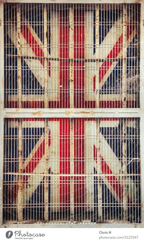 Caged Union Jack Parma Italy Europe Manmade structures Building Architecture Wall (barrier) Wall (building) Facade Society Tourism Town Change Future Grating