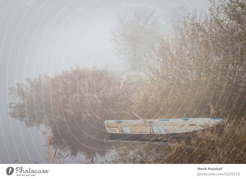 Old row boat in a lake at a misty icy morning the Netherlands alone beautiful beauty calm cold color early empty environment europe fishing fog foggy freeze