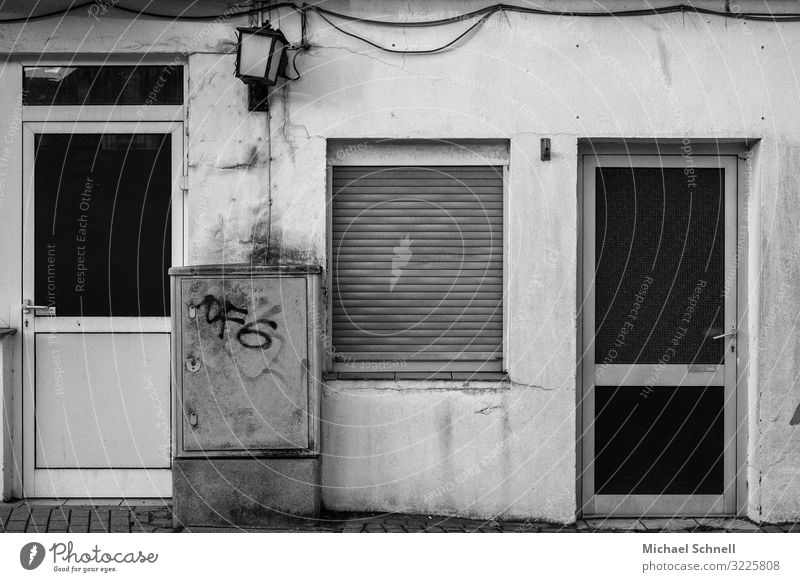 backyard entrances power box Electricity Hagen Town House (Residential Structure) Window Door Old Hideous Sadness Hopelessness Black & white photo Exterior shot