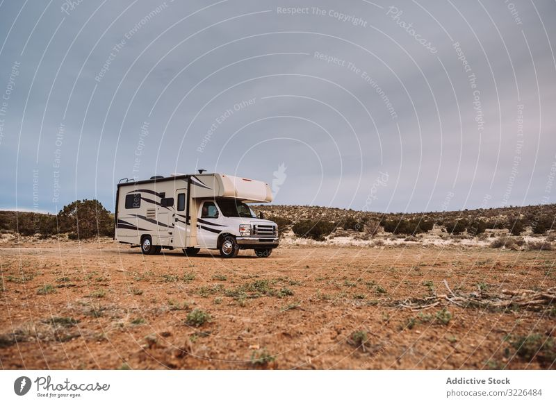 Motor home on field camper parked travel contemporary usa valley motor home deserted hill holiday campground overnight vacation nature rv recreational vehicle