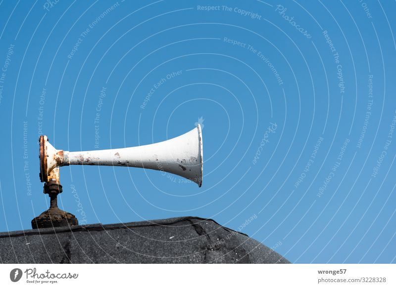 bugle Loudspeaker Fishing boat Signal station Old Maritime Blue Gray Black Horn Megaphone Colour photo Multicoloured Exterior shot Close-up Deserted