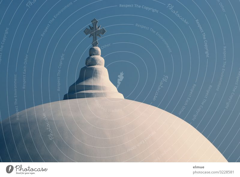 Faith and hope Vacation & Travel Cloudless sky Greece Santorini Church Manmade structures Architecture Roof Domed roof Stone Crucifix Esthetic Bright Round Blue