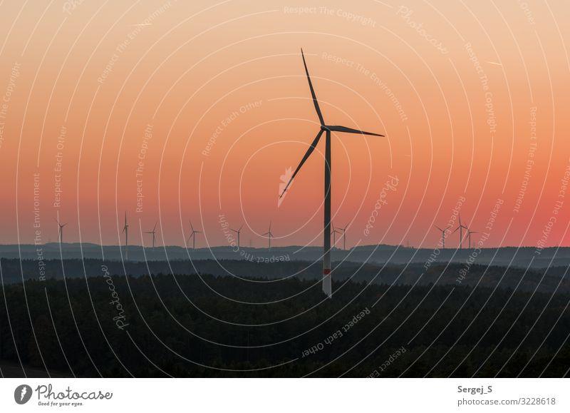 loner Technology Energy industry Wind energy plant Far-off places Large Orange Colour photo Subdued colour Exterior shot Deserted Copy Space left