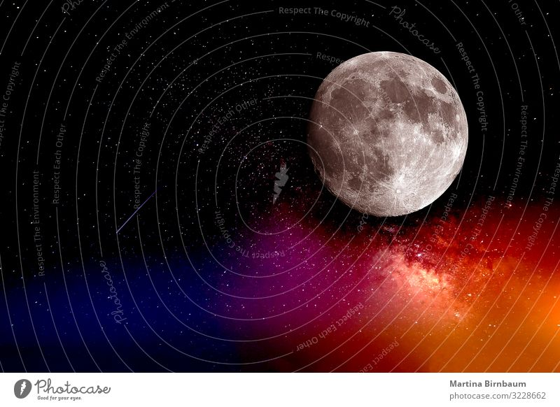 The moon, galaxies and a shooting star Beautiful Wallpaper Science & Research Nature Landscape Sky Moon Telescope Sphere Bright Blue Black sci-fi interstellar