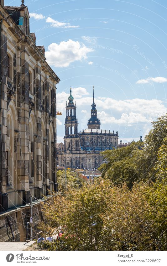 Court Church in Dresden Architecture Germany Downtown Old town Deserted Tourist Attraction Monument Hofkirche Large Blue sky Colour photo Exterior shot