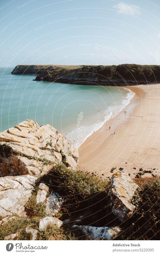 Sandy beach between long cliffs by sea landscape barafundle bay water rock travel destination resort trip tourism scenery seascape idyllic picturesque