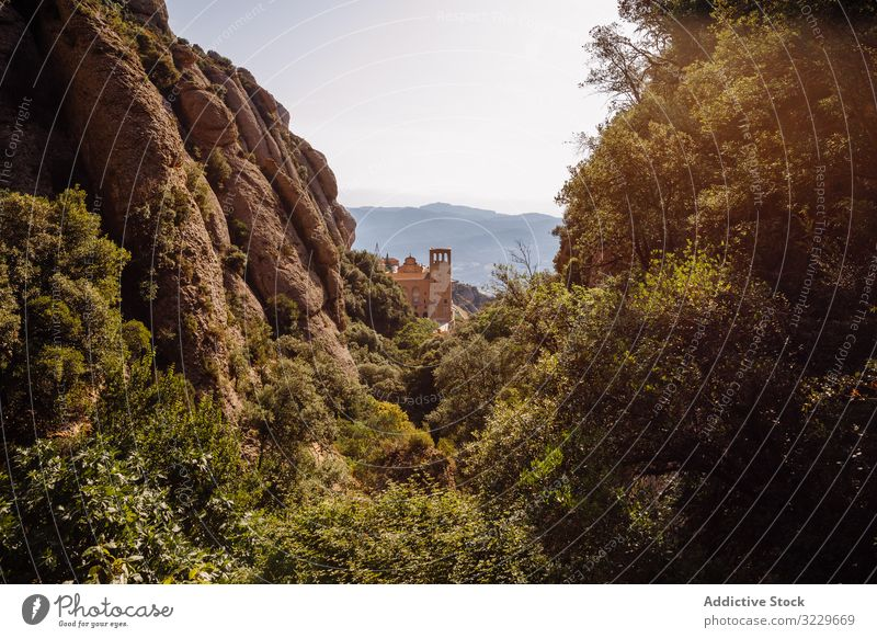 Views of the mountain of Montserrat panorama mountains catalonia spain sunset climb climbing natural landmark tourism summer europe destination natural light