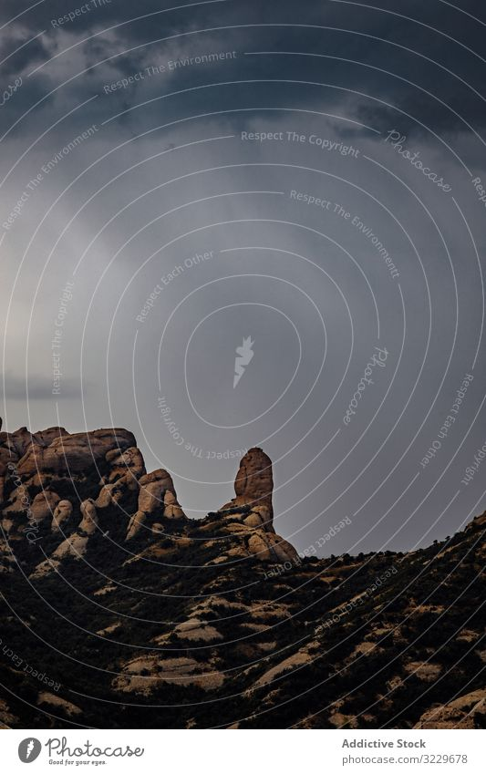 Views of the Montserrat Mountain with storm mediterranean catalan outdoors sunrise landscape montserrat spain mountain peak icon weather dramatic horizon stone