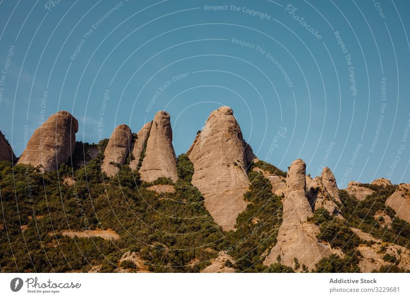 Views of the mountain of Montserrat natural light panorama mountains sunset landscape catalonia spain climb climbing landmark tourism summer europe destination
