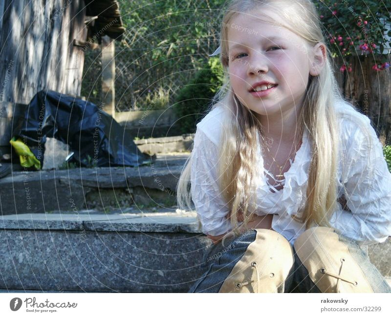 cheerful child Child Girl Happiness Blonde Timidity Garden Nature Joy Stairs somme Sun