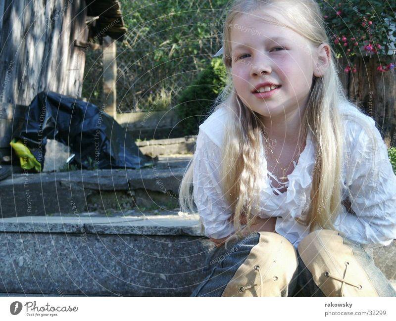 Child Nature Girl Sun Joy Garden Blonde Happiness Stairs Timidity