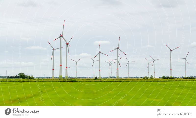 Wind farm in East Frisia Summer Flat (apartment) Wind energy plant Landscape Clouds Horizon Grass Meadow Coast Sustainability East Frisland Friesland district