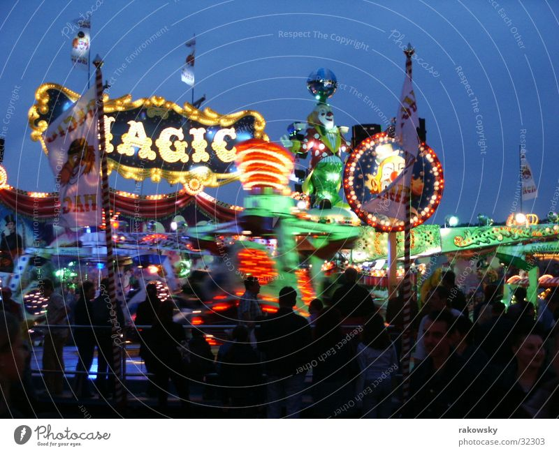 folk festival Roller coaster Fairs & Carnivals Night Twilight Evening Light Visual spectacle Würzburg Long exposure kiliani Human being slow exposure