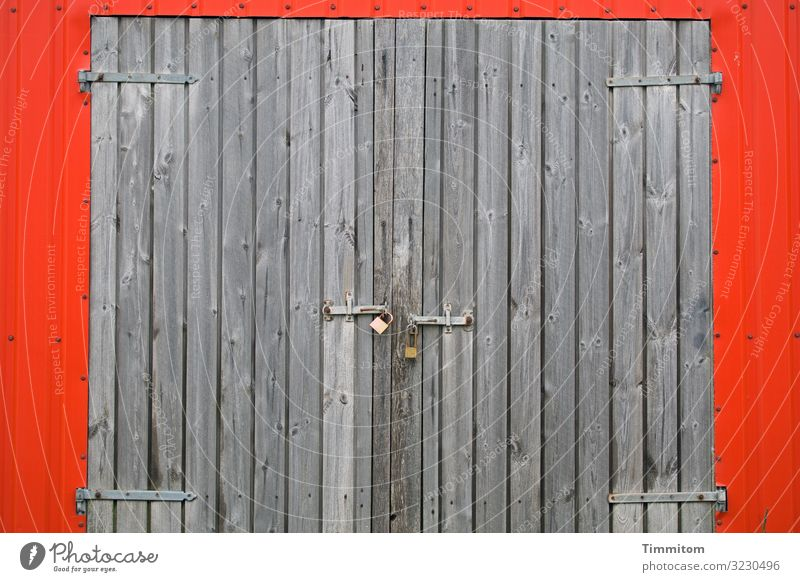 Sturdy and closed Vacation & Travel Fishery Denmark Fishermans hut Facade Door Locking bar Hinge Wood Metal Esthetic Fresh Crazy Brown Gray Red Emotions