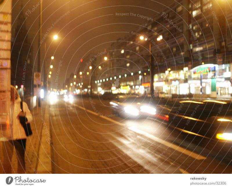 Street in Berlin Long exposure Physics Night Transport Night life Car Warmth Evening