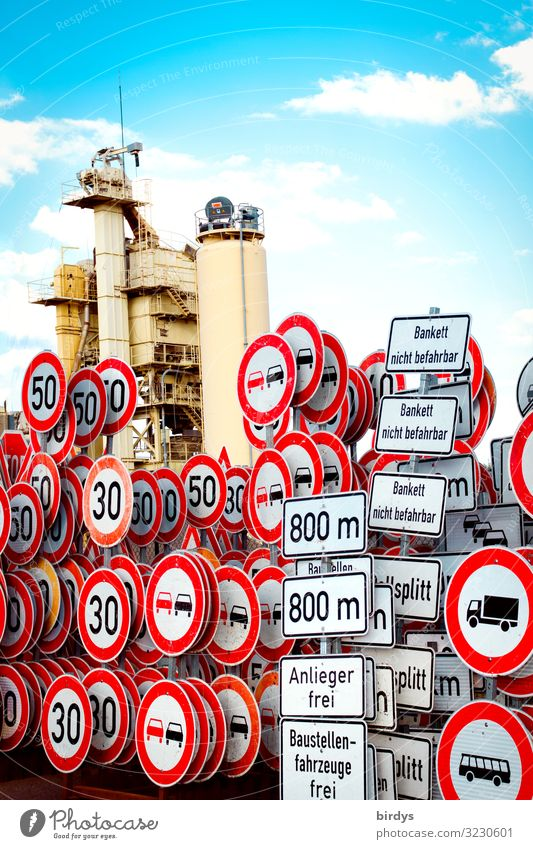 collection of shields road maintenance Workplace Logistics Sky Clouds Transport Road sign Metal Sign Characters Digits and numbers Signs and labeling Authentic