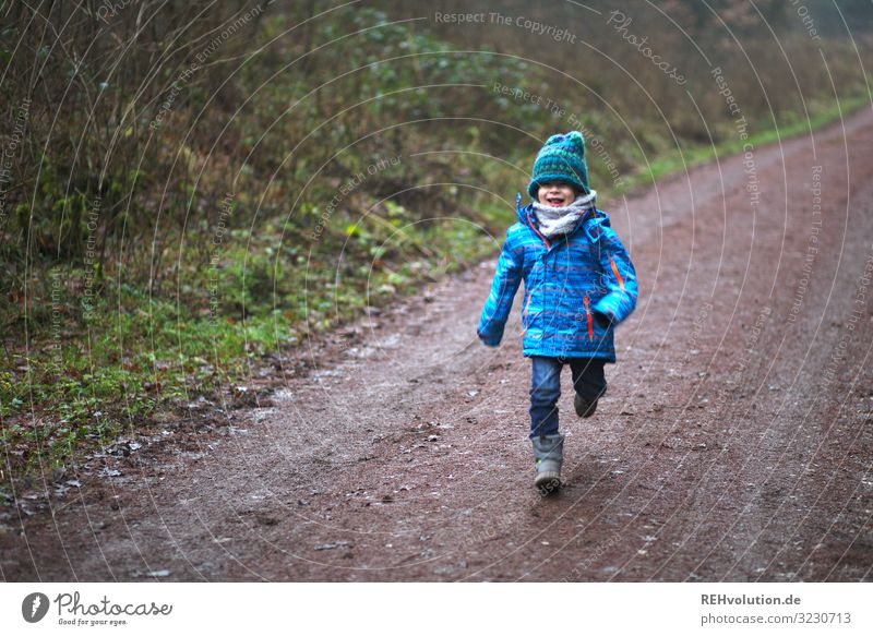 Child runs on a forest path Joy luck Leisure and hobbies Playing Human being Masculine Boy (child) Infancy 1 3 - 8 years Environment Nature Landscape Forest