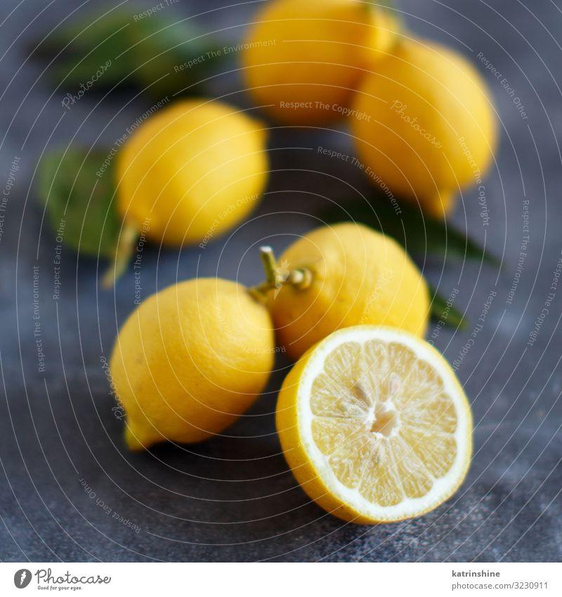 Fresh lemons Fruit Vegetarian diet Exotic Leaf Bright Natural Juicy Yellow Gray Green Lemon Copy Space citrus Tropical food healthy Organic piece Raw Mature