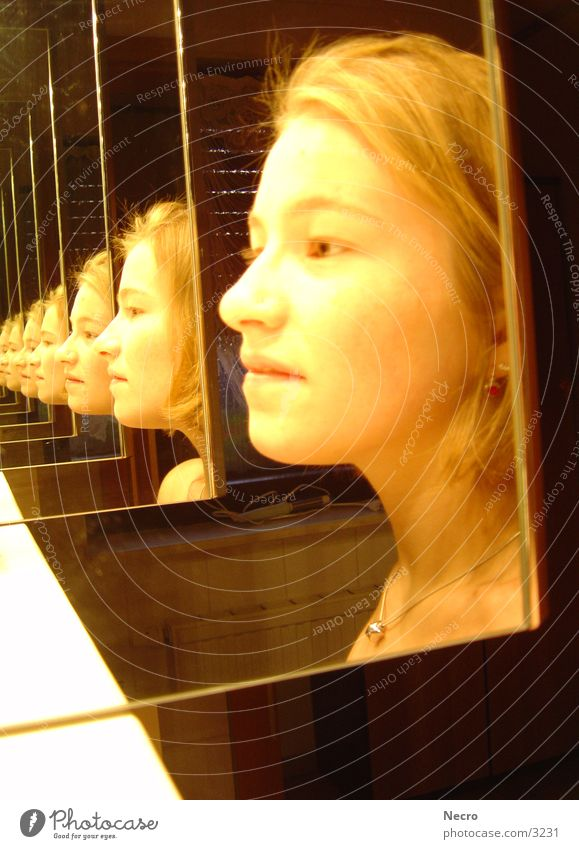 Girl in the mirror Woman Mirror Bathroom Tunnel Portrait photograph Reflection