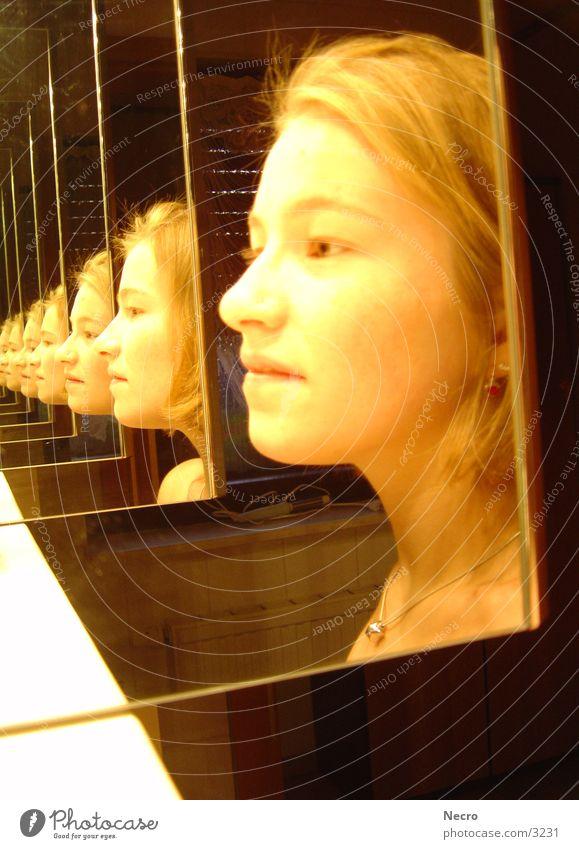 Woman Bathroom Mirror Tunnel Reflection Portrait photograph
