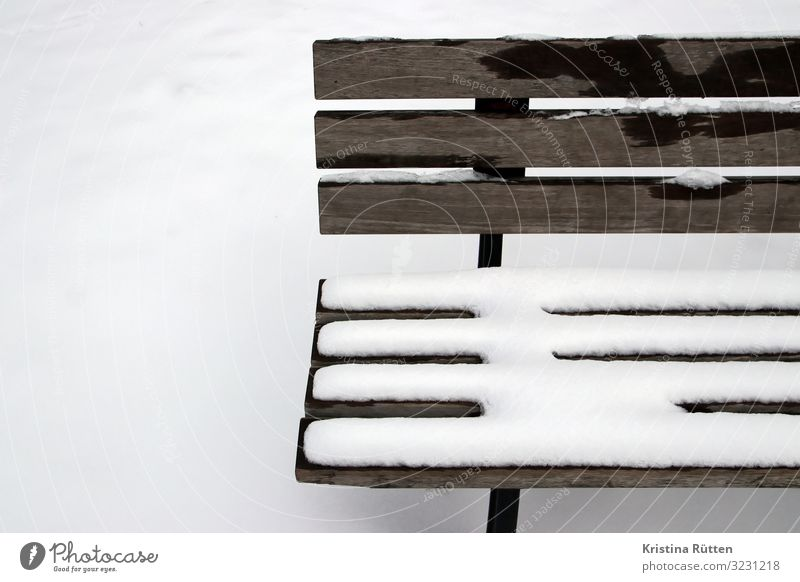snow bench Snow Winter Climate Weather Deserted Sit Cold Snowfall Snow layer Park bench Wooden bench Exterior shot Winter's day Pattern Frost All-weather