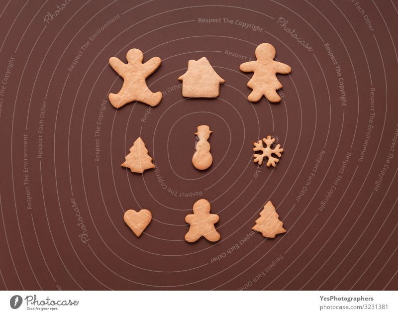 Gingerbread cookies in many shapes. Christmas symbol Xmas sweets Dessert Candy Winter Christmas & Advent New Year's Eve Family & Relations Delicious Brown