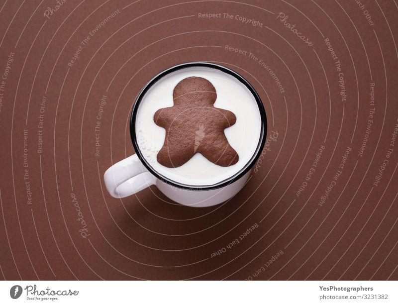 Gingerbread man inside milk cup. Milk and cookies. Xmas sweets Christmas & Advent White Joy Winter Eating Funny Brown Cute Delicious Drinking Candy Tradition