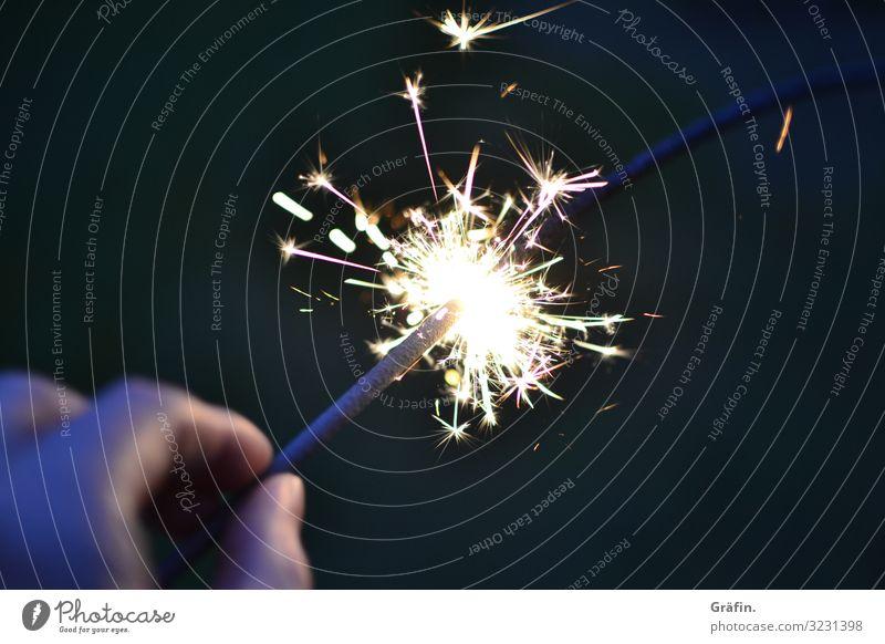 Wonderful sparkler Party Christmas & Advent New Year's Eve Birthday To hold on Illuminate Dark Glittering Bright Kitsch Gold Black Joy Happy Happiness