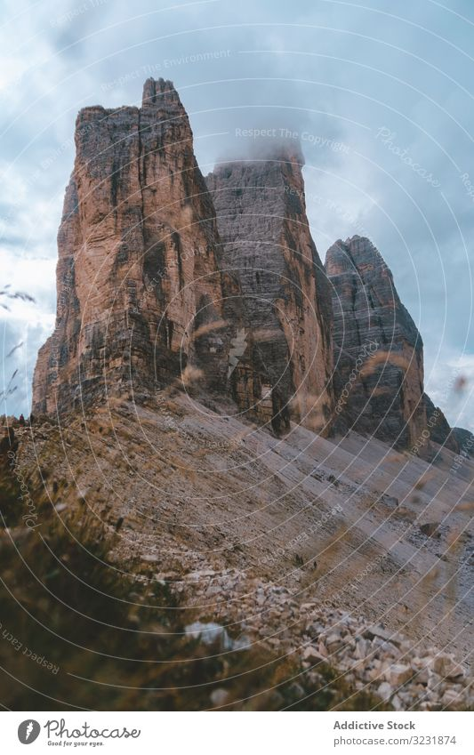 Tre cime di Lavaredo in Dolomites during cloudy weather mountain peak dolomites tre cime di lavaredo tourism alpine rock alps italy solitude europe freshness