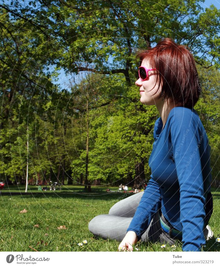 Springfever_2009 Contentment Summer Sun Feminine Young woman Youth (Young adults) Body 1 Human being Tree Park Meadow Sunglasses Observe Relaxation Smiling