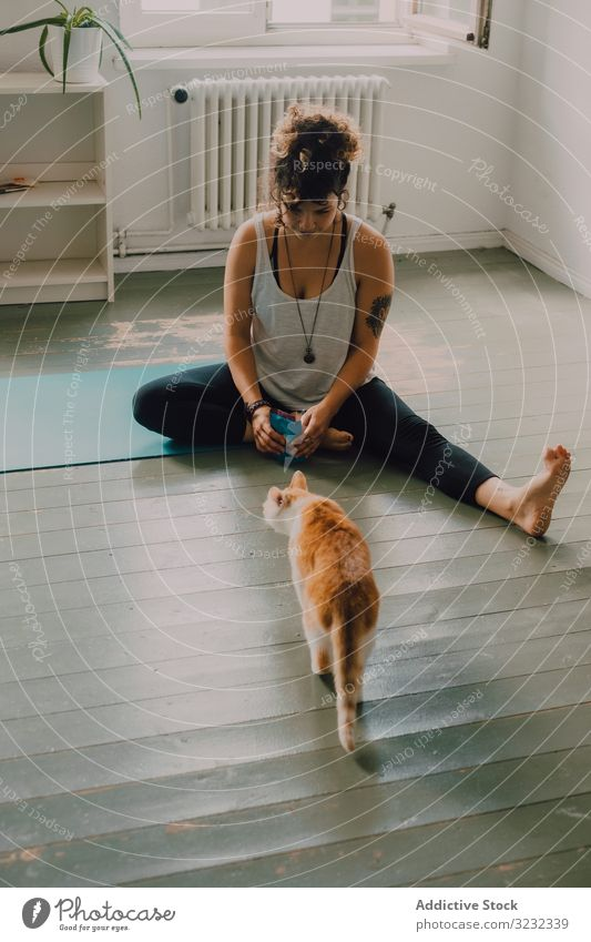 Relaxed woman playing with cat on floor at home relaxed caring feline domestic apartment barefoot casual modern minimalistic sit pet young adult cute animal