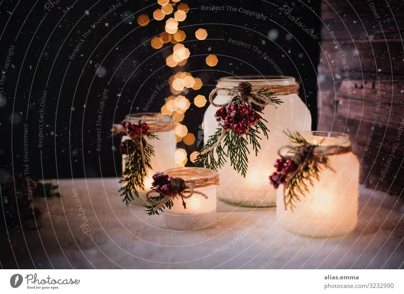 Winterly wind lights at Christmas time Handicraft Garden Christmas & Advent Nature Wood Glass Brown Yellow Gold Black Safety (feeling of) Storm laterne candles