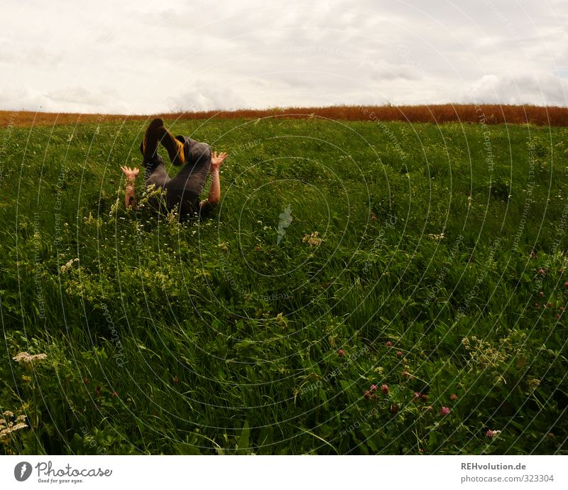 Boy makes a roll in the grass Lifestyle Leisure and hobbies Playing Human being Masculine Young man Youth (Young adults) 1 18 - 30 years Adults Environment
