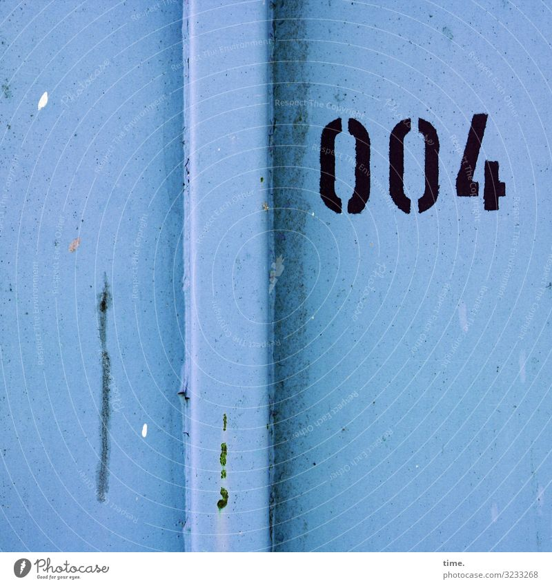 007 was prevented Container Metal Rust Digits and numbers Line Stripe Dark Sharp-edged Broken Trashy Blue Black Self-confident Power Endurance Unwavering