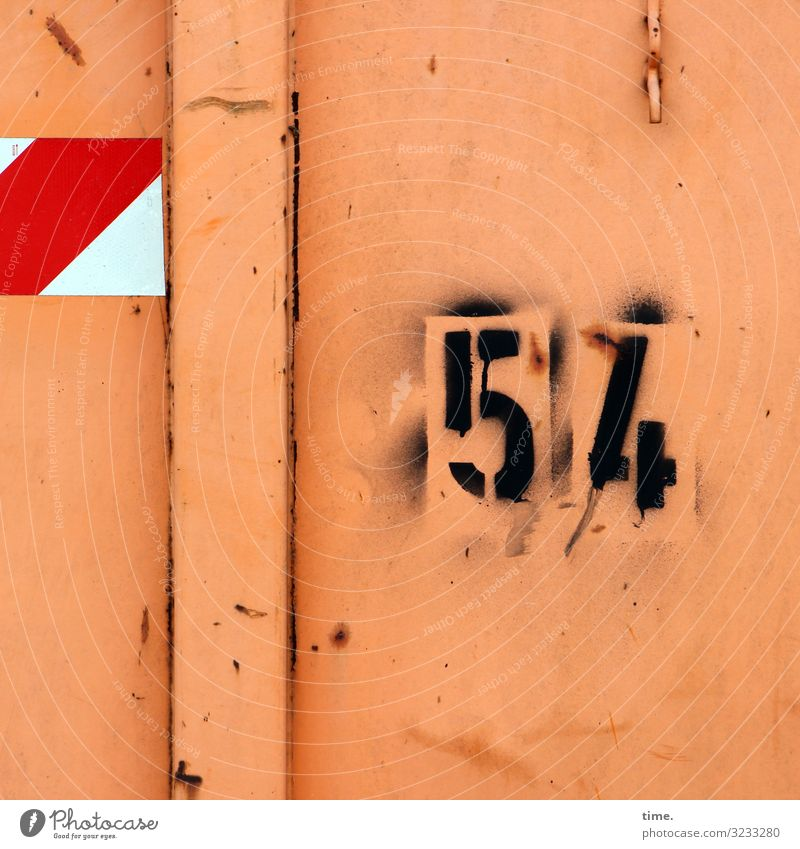 Correction assistance Logistics Container Checkmark 54 Metal Rust Sign Digits and numbers Signs and labeling Signage Warning sign Graffiti Line Stripe