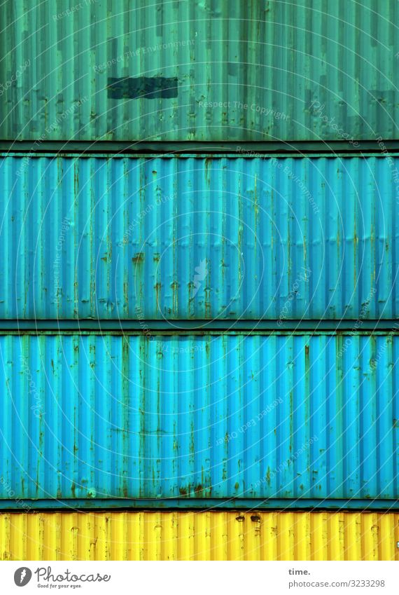 Shift change (II) Work and employment Workplace Logistics Services Container Metal Dirty Sharp-edged Firm Maritime Town Blue Yellow Green Life Endurance