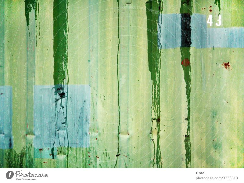 greenwashing Container Colour Spilled out Rust Metal Digits and numbers Line Stripe Firm Fluid Blue Yellow Green Turquoise Life Surprise Movement Uniqueness