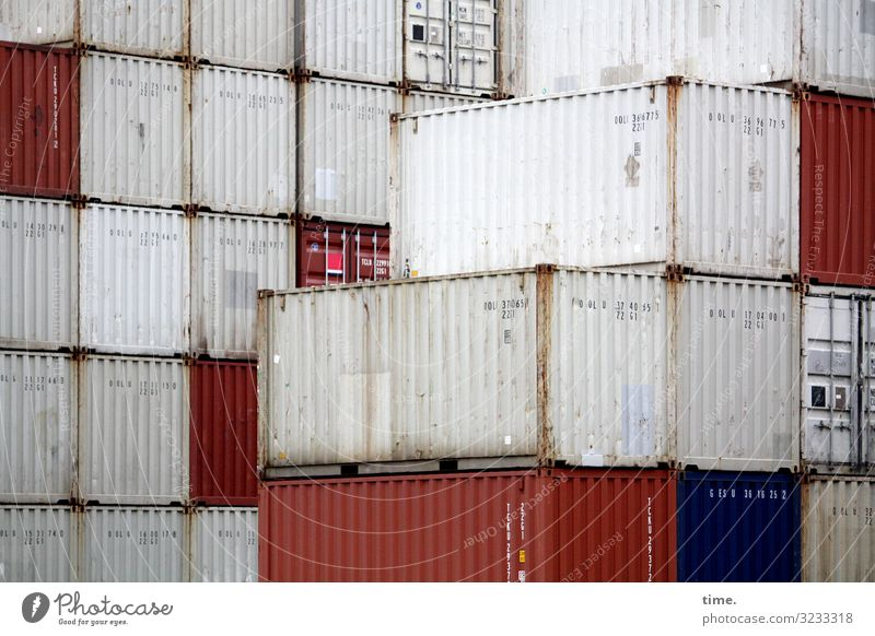 tetris Work and employment Workplace Logistics Services Container Metal Line Stripe Dark Sharp-edged Trashy Town Red White Together Discover Mysterious