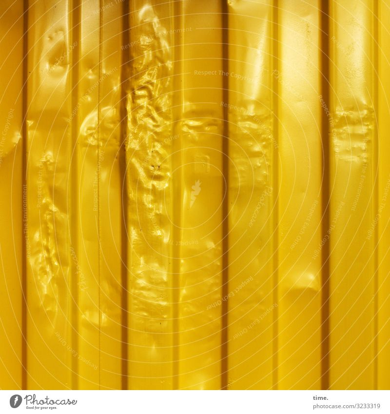 Gold fever Logistics Services Packaging Tin Container Bulge Metal Line Stripe Elegant Kitsch Rich Trashy Yellow Happy Life Endurance Unwavering Orderliness