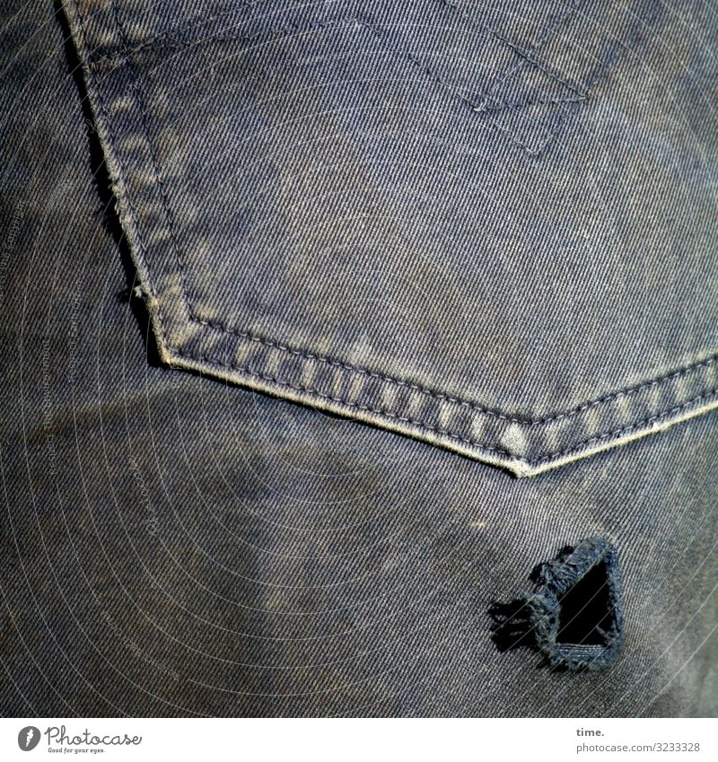 breathable (I) Pants Jeans Cloth Trouser pocket Hollow Dirty Authentic Broken Trashy Life Discover Nostalgia Decline Lose Destruction Attachment Stitching