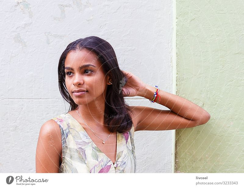 young cuban with dress in havana - cuba Lifestyle Happy Island Human being Feminine Young woman Youth (Young adults) Woman Adults Head Face Eyes Ear Nose Mouth