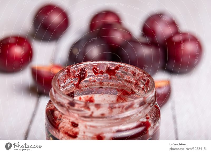 plum jam Food Fruit Jam Nutrition Breakfast Buffet Brunch Glass Healthy Eating Kitchen Select To enjoy Fresh jam glass Empty Undo Open consume Plum Colour photo