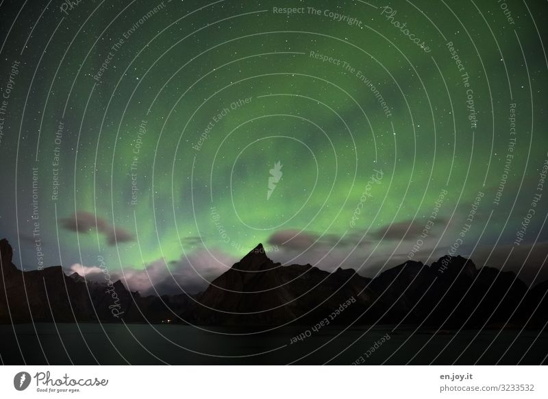 Solar energy Vacation & Travel Nature Landscape Night sky Stars Aurora Borealis Mountain Fjord Reine Lofotes Norway Scandinavia Illuminate Exceptional Green