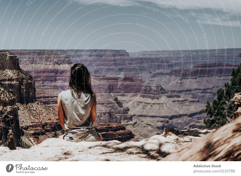 Tourist gazing while standing on edge of picturesque canyon tourist gaze cliff mountain range contemplating summer usa hot scenic greenery blue sky mist gorge